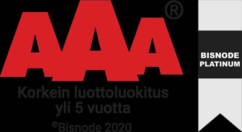 Bisnode 2020 Platinum AAA - Korkein luottoluokitus yli 5 vuotta